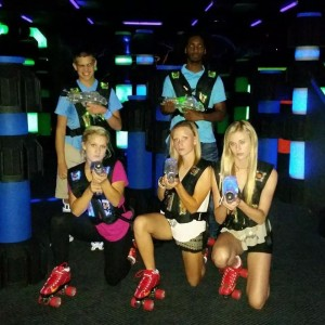 laser tag teens with skates