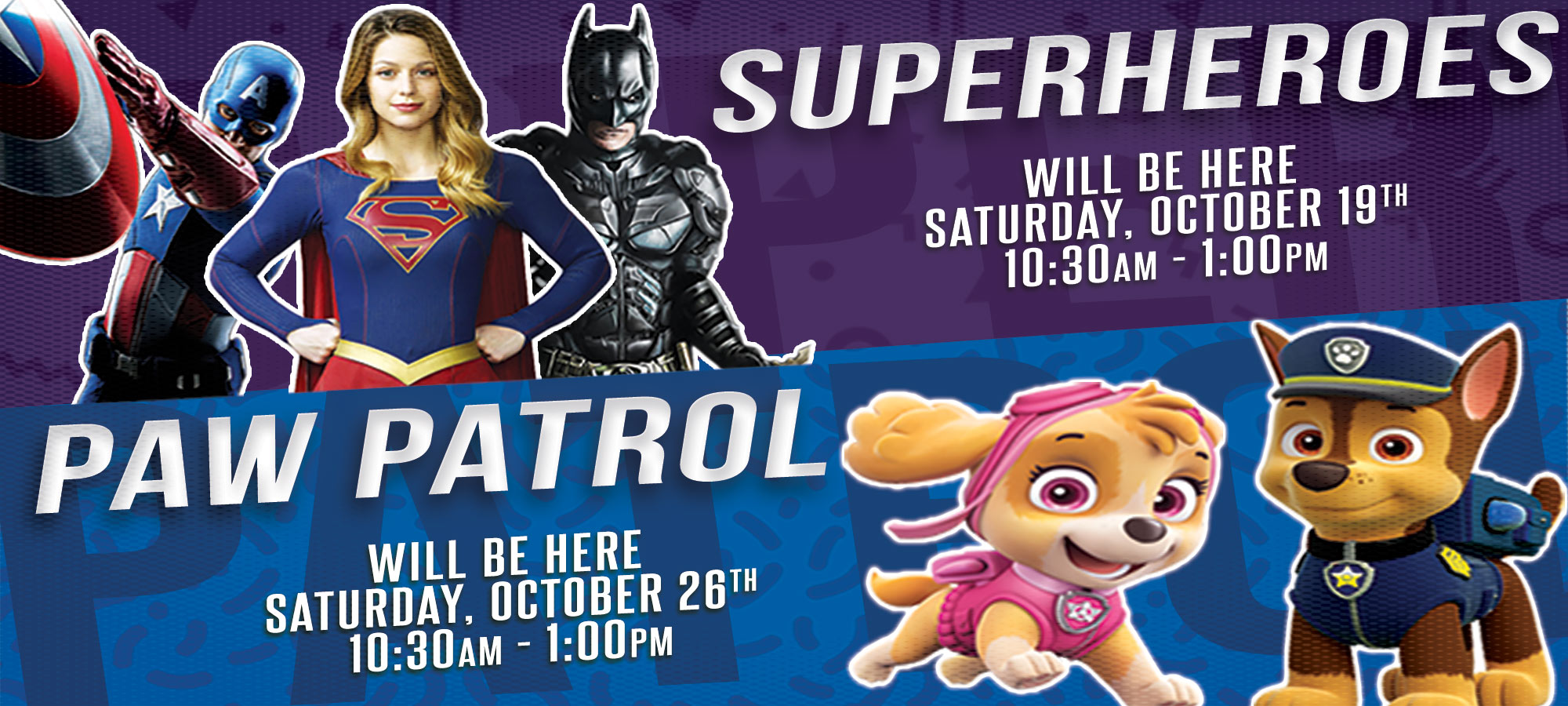 October-Saturday-Character-Events-2019-Superheroes-and-Paw